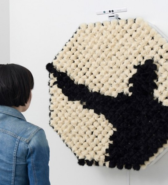 'PomPom Mirror' Reflects Your Body In Pixelated Fur